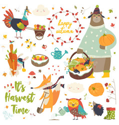 harvesting animals set vector image
