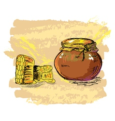 honey jar and honeycombs vector image