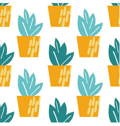 Houseplants seamless pattern vector