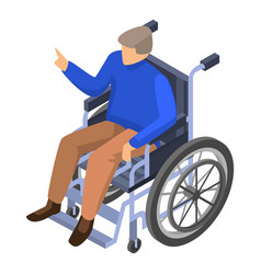 Invalid man in wheelchair icon isometric style vector