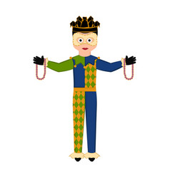 Isolated man with mardi gras clothes vector