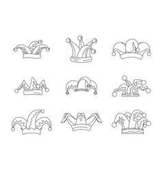 jester fools hat icons set outline style vector image