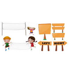kids and different designs of sign vector image