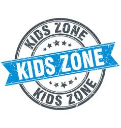 Kids zone round grunge ribbon stamp vector