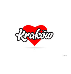 Krakow city design typography with red heart icon vector