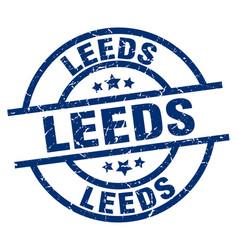 Leeds blue round grunge stamp vector
