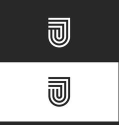 Letter j logo monogram in form a shield vector