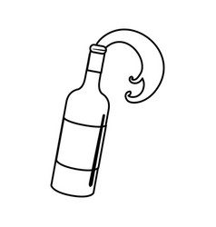 Line bottle splashing wine icon vector