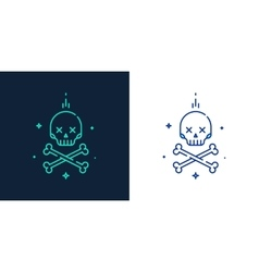 linear style icon of skull with crossbones vector image