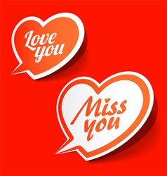 Love you and Miss you heart shaped bubbles vector