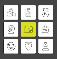 Map navigation teeth camera tv heart emoji vector