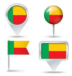 Map pins with flag of Benin vector image