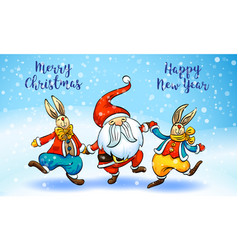 merry christmas santa rabbit concept banner vector image