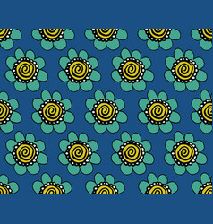modern seamless blue indian pattern with flowers vector image