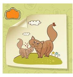 new baby kitten with his mother vector image