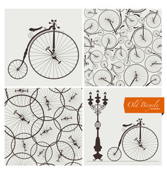 old bicycle templates and seamless patterns vector image