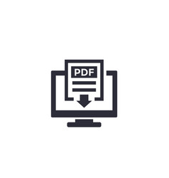 Pdf download with computer icon vector