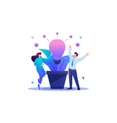People enjoy the growth of business idea flat 2d vector
