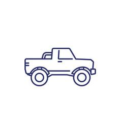 Pickup truck icon on white line art vector