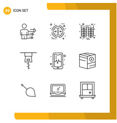 Pictogram set 9 simple outlines box mobil vector