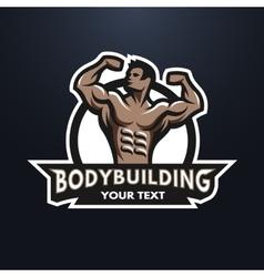 Posing bodybuilder emblem vector image