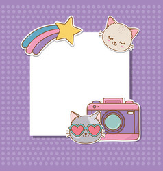 Postcard with stickers kawaii vector