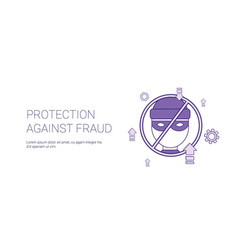 protection against fraud template web banner with vector image