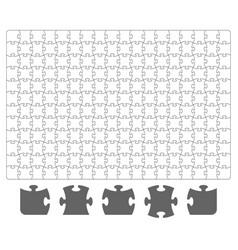 Puzzle template and puzzle pieces on white vector