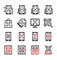 qr scan icon set vector image