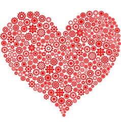 red heart made of gear wheels vector image