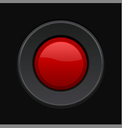 Red round button 3d push button on black vector