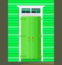Retro green wooden door closed on exterior vector
