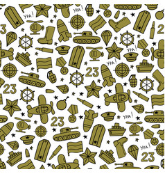 Seamless pattern of military icons on a white vector