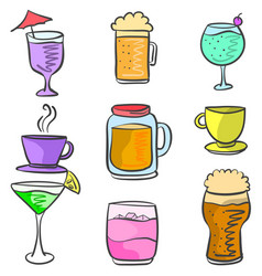 Set drink various doodles vector