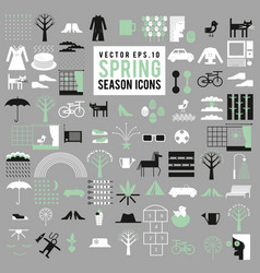 Set of spring season icons big collection vector
