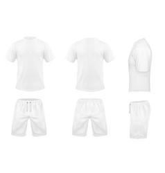 set of white sport t-shirts and shorts vector image