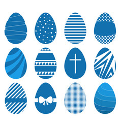 set twelve easter eggs in flat geometric style vector image