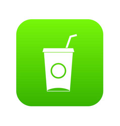 soft drink in paper cup icon digital green vector image