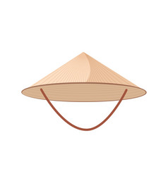 Straw asian conical or rice hat with strap vector
