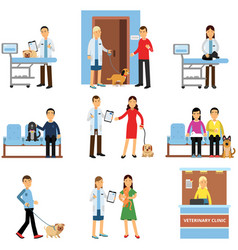 Veterinary clinic set people visiting vet clinic vector