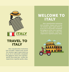 Welcome to italy promo booklets with cultural vector