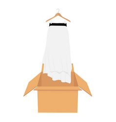 White elegant skirt on hanger shopping sale vector
