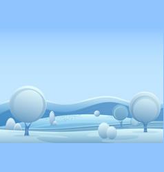 Winter fantasy forest landscape vector