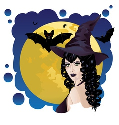 Witch and Bats vector
