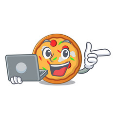 With laptop pizza character cartoon style vector