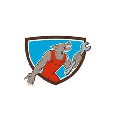 Wolf Mechanic Spanner Shield Cartoon vector image