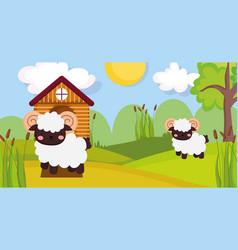 Wooden house ram and sheep trees sun farm animal vector