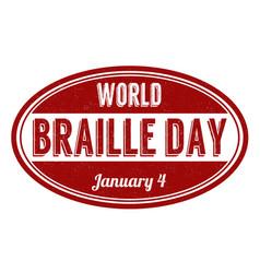 world braille day grunge rubber stamp vector image