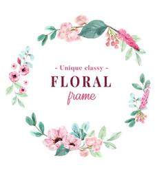 Wreath design with vintage floral watercolor vector