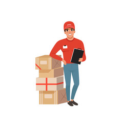 Young delivery man standing near stack of vector